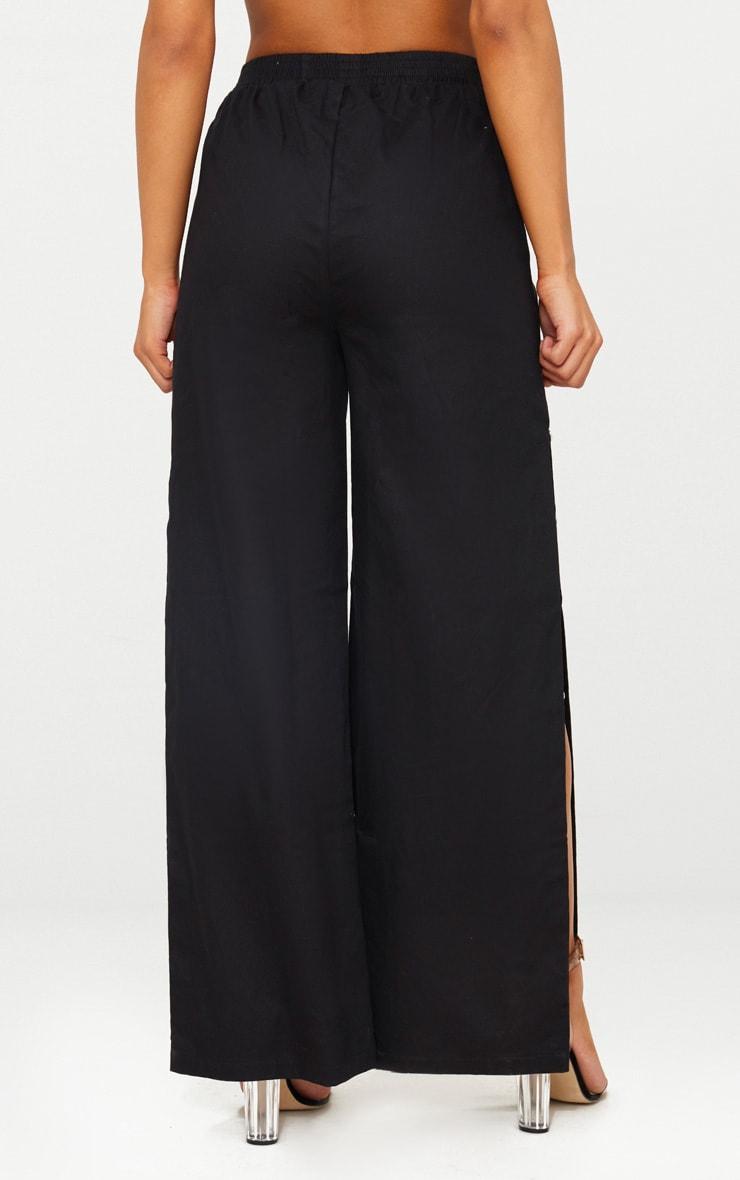 Black Wide Leg Popper Cargo Trousers 2