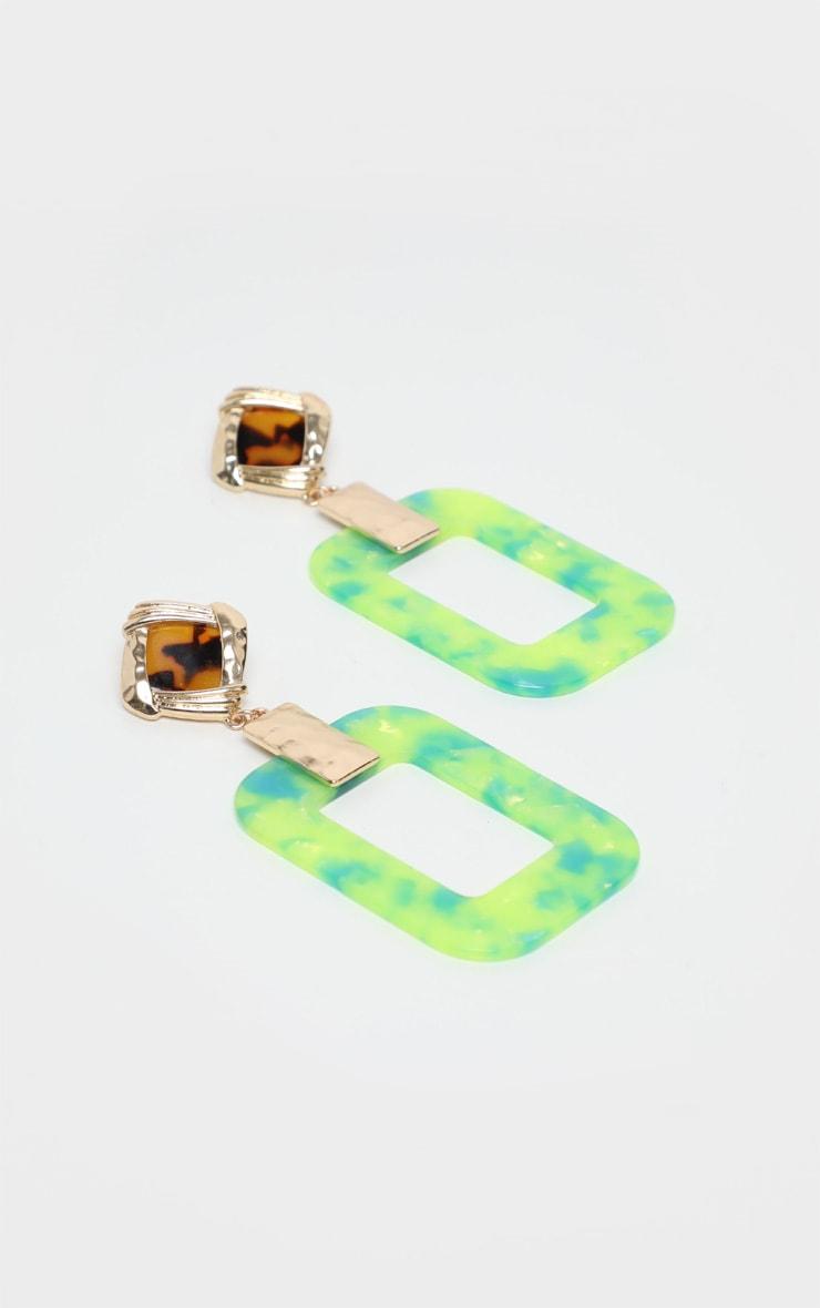 Boucle d'oreilles carrés à pendants résine géométriques et pierres fantaisies 2