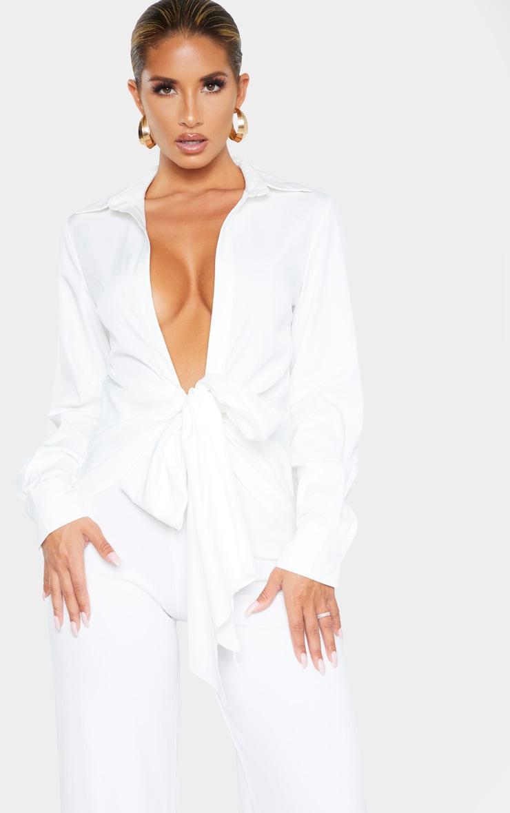 Chemise blanche à nouer en maille tissée 1