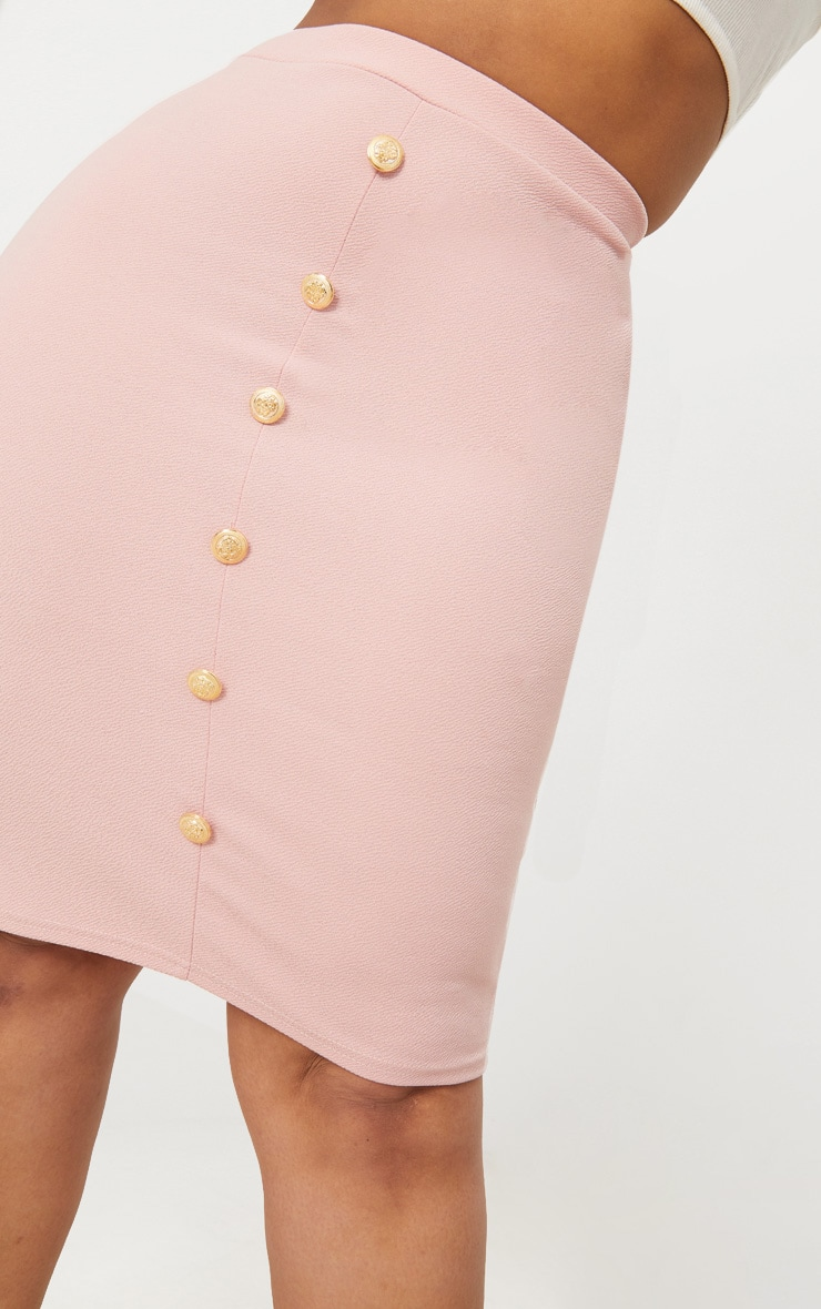 Plus Dusty Pink Military Button Detail Bodycon Skirt 5