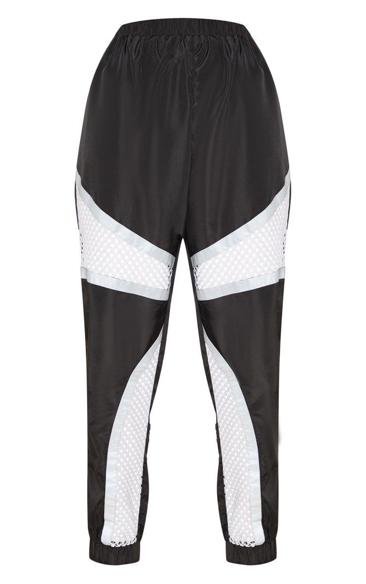 Monochrome Shell Fishnet Panel Joggers 4