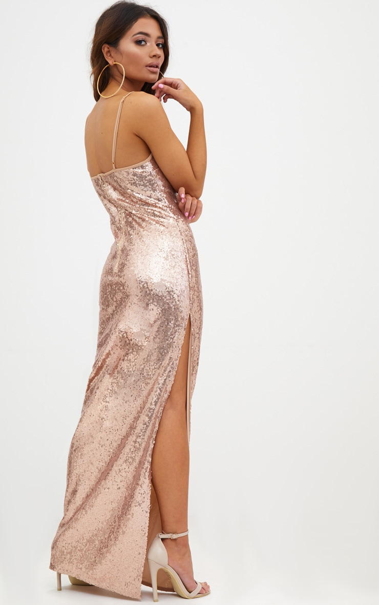 Petite Rose Gold Side Split Sequin Maxi Dress 2