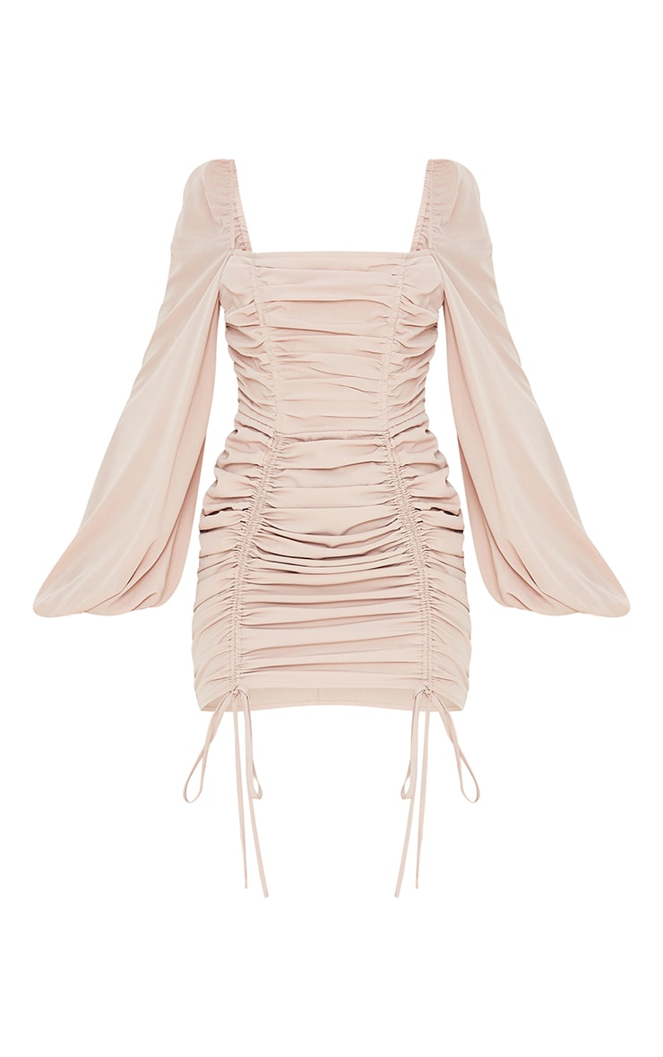 Stone Chiffon Double Ruched Bodycon Dress 5