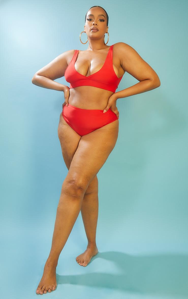 Recycled Plus Red Mix & Match High Waist Bikini Bottoms 3