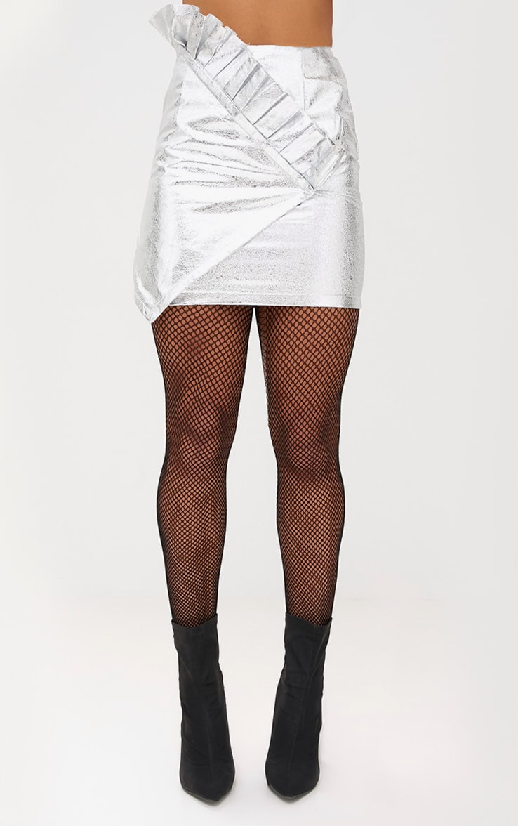 Silver Metallic Crack Vinyl Frill Panel Mini Skirt 2