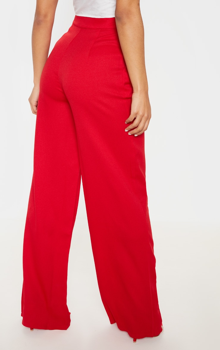 Red Formal Button Wide Leg Pants 4