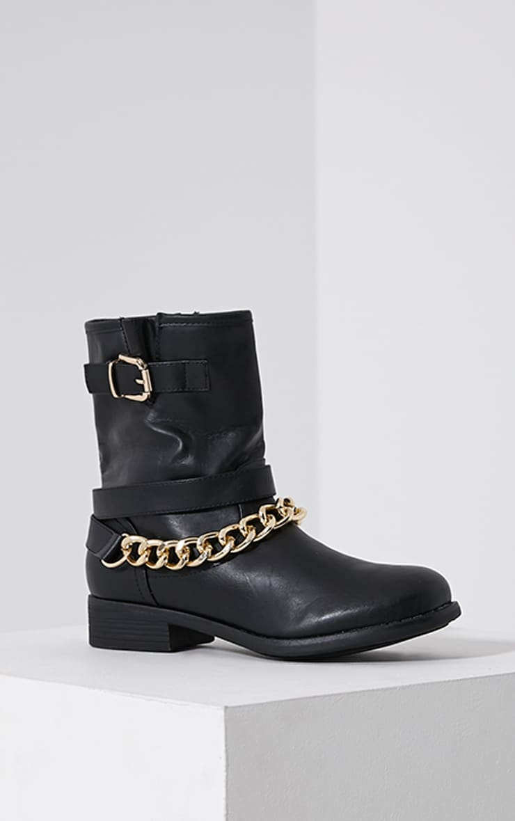 Janet Black Chain Ankle Boots 3