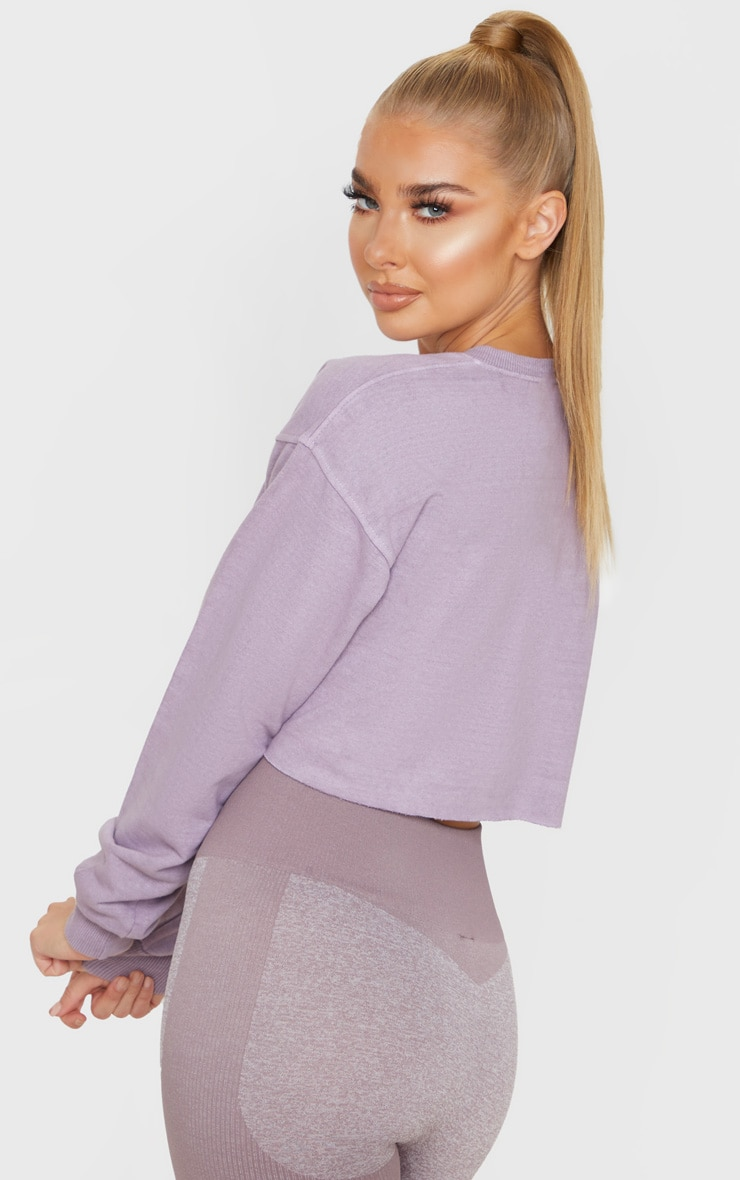PRETTYLITTLETHING Mauve Cropped Sports Sweat 2