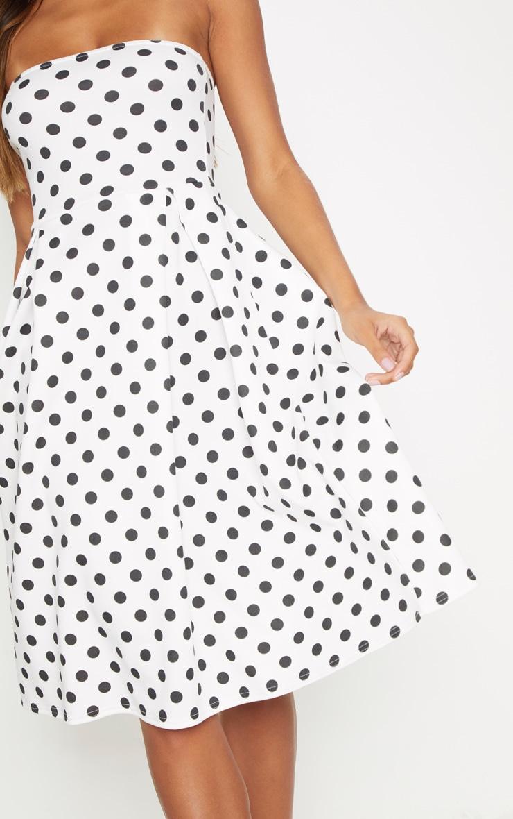 White Polka Dot Bandeau Midi Skater Dress 5