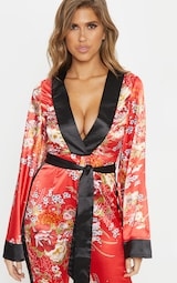 Red Oriental Print Plunge Tie Waist Jumpsuit 5