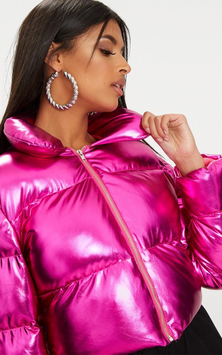 656ea2c9a Hot Pink Metallic Cropped Puffer Jacket