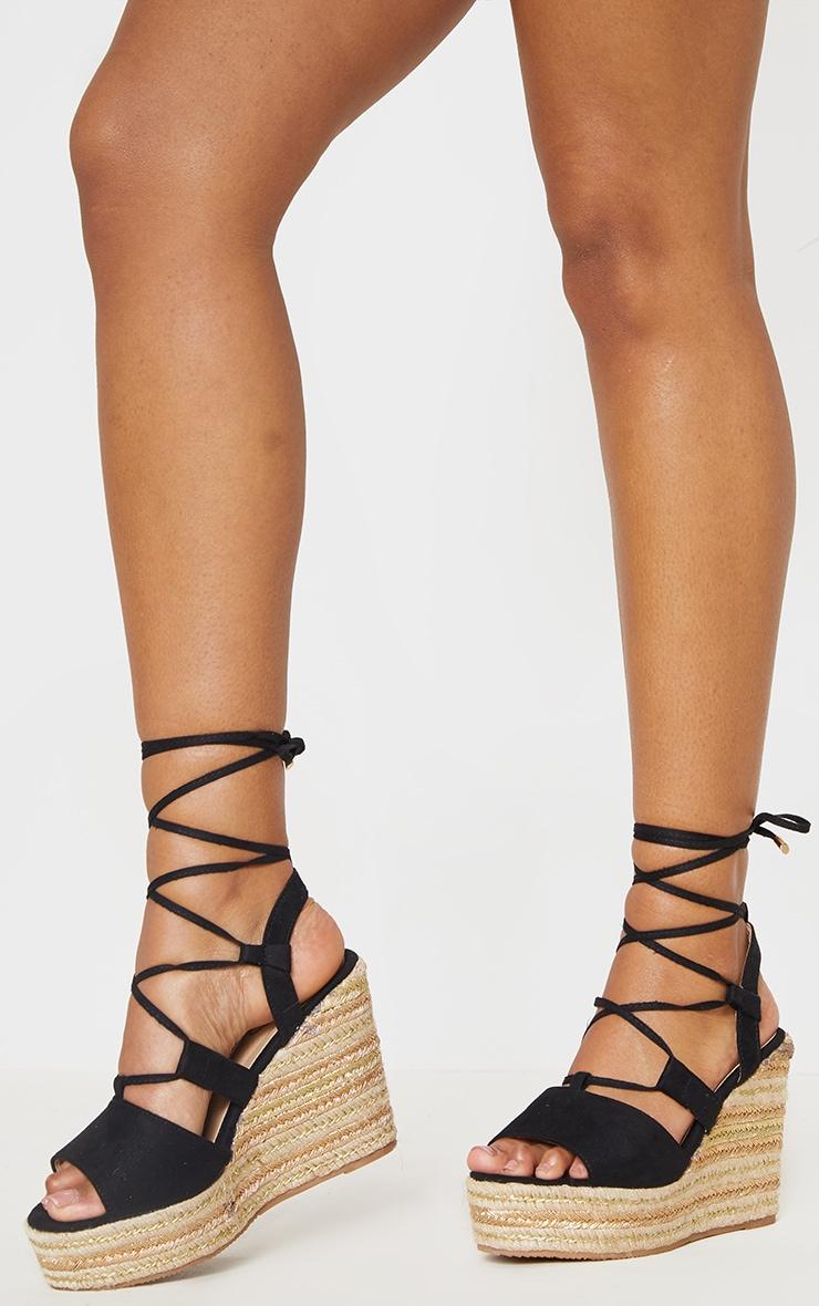 Black Ghillie Lace Up Espadrille Wedge Sandal 2
