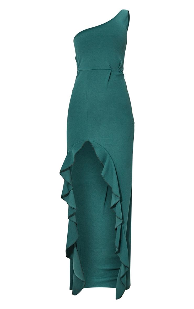 Emerald Green One Shoulder Ruffle Hem Maxi Dress 5