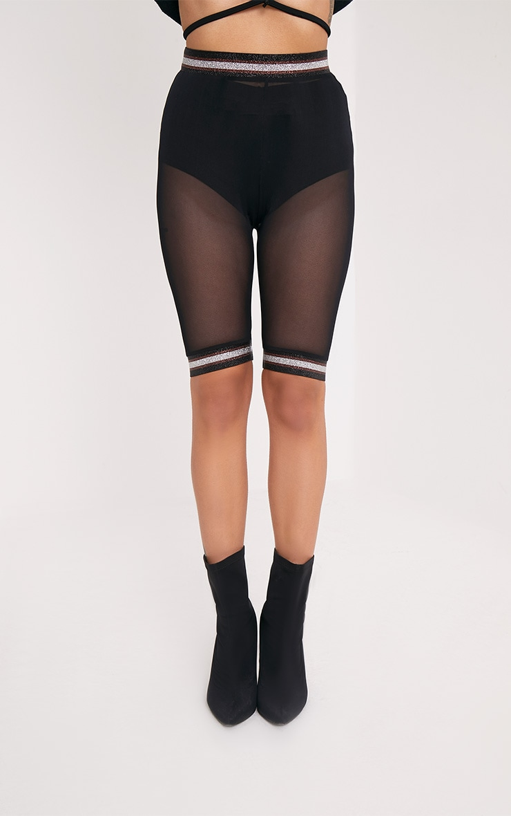 Anzia Black Mesh Metallic Trim Cycle Shorts  2