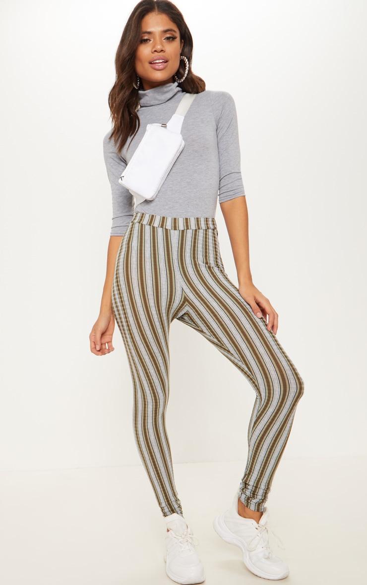 Khaki Rib Mix Stripe Legging