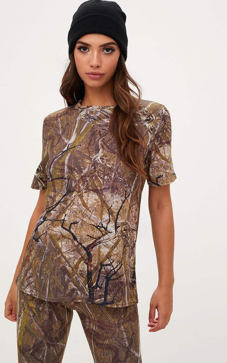 Khaki Forest Print Camo Oversized T Shirt 1