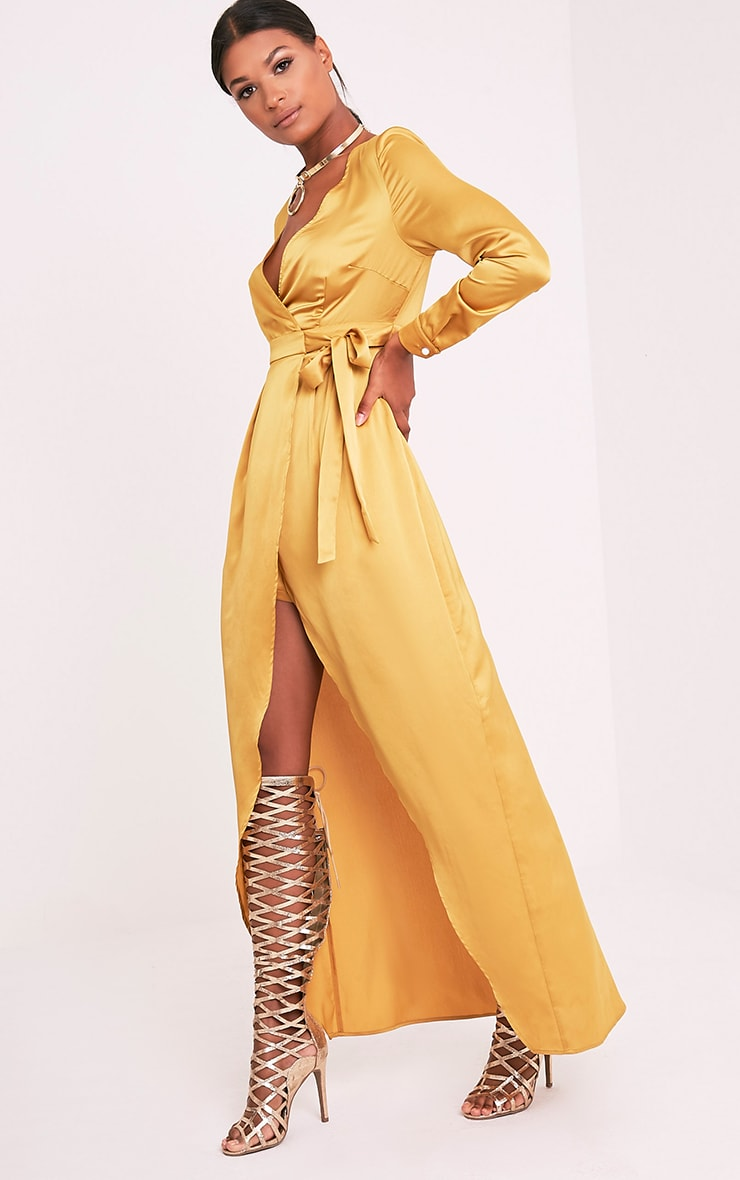 Kallie Dark Gold Wrap Detail Satin Maxi Playsuit 5