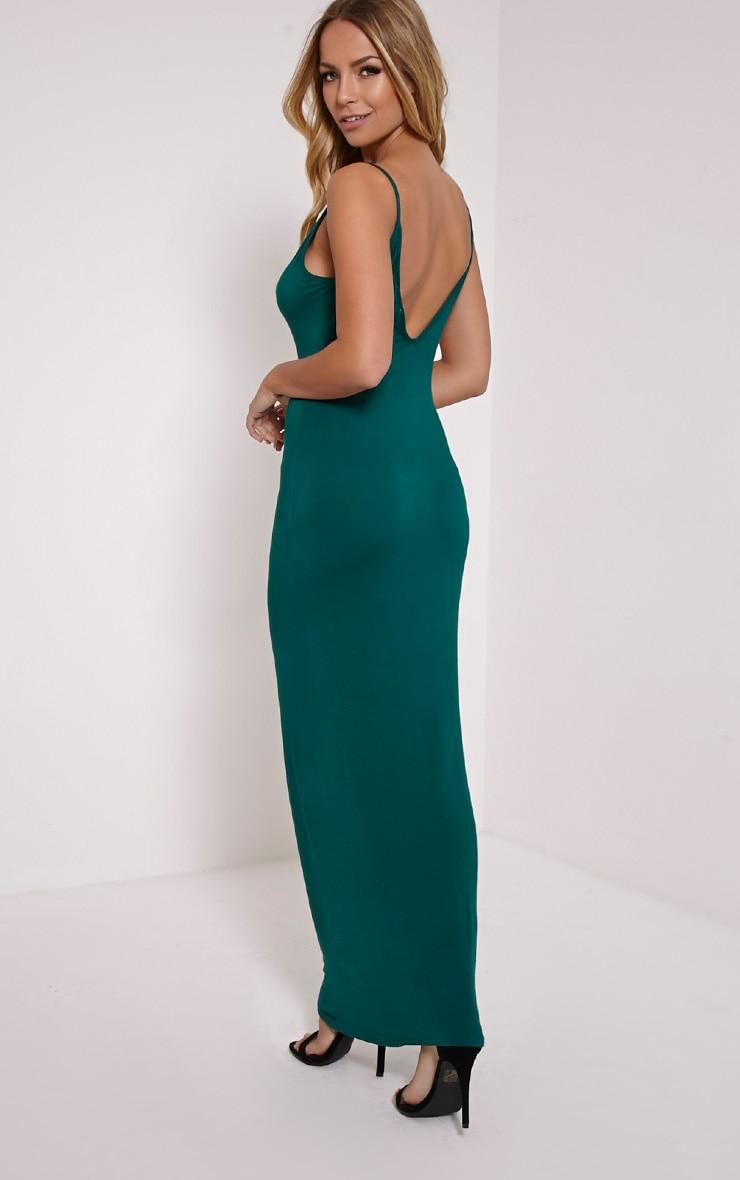 Basic robe maxi dos échancré vert bouteille 1