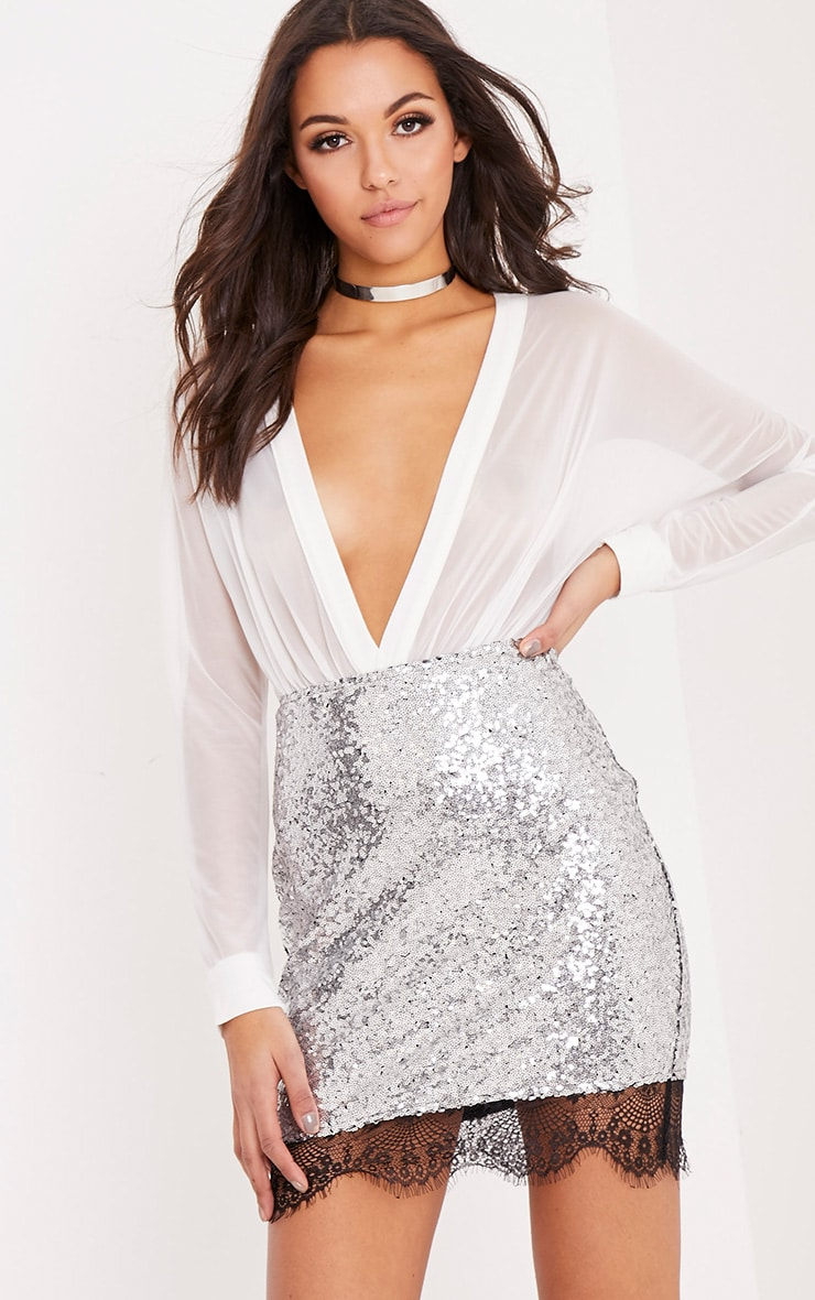 Aubriana Silver Sequin Lace Trim Mini Skirt  1