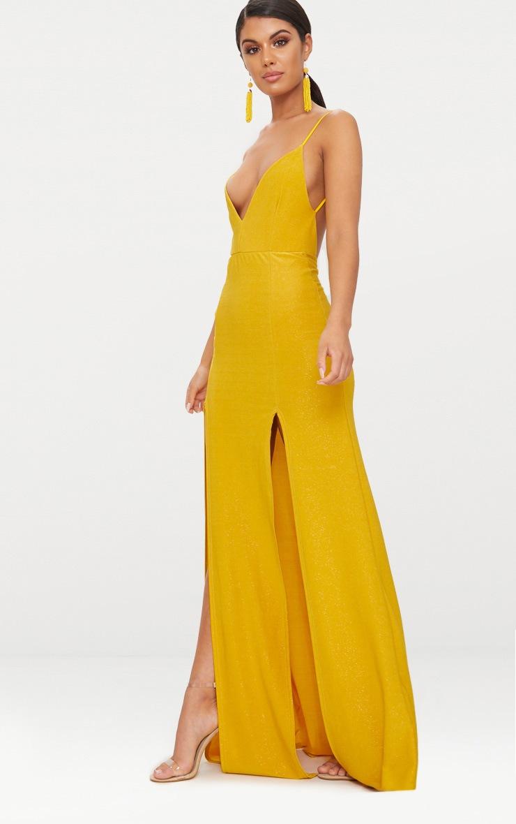 Yellow Strappy Plunge Double Split Detail Maxi Dress 4