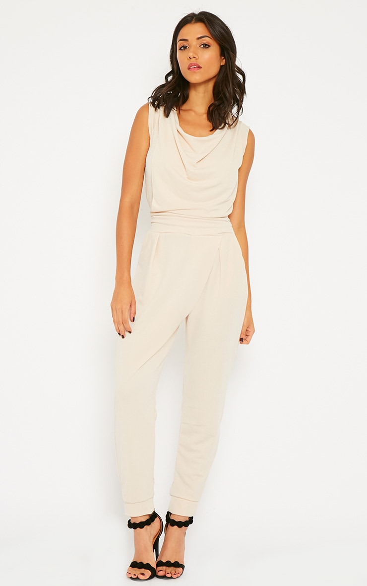 Cheris Cream Cowl Neck Jumpsuit 1