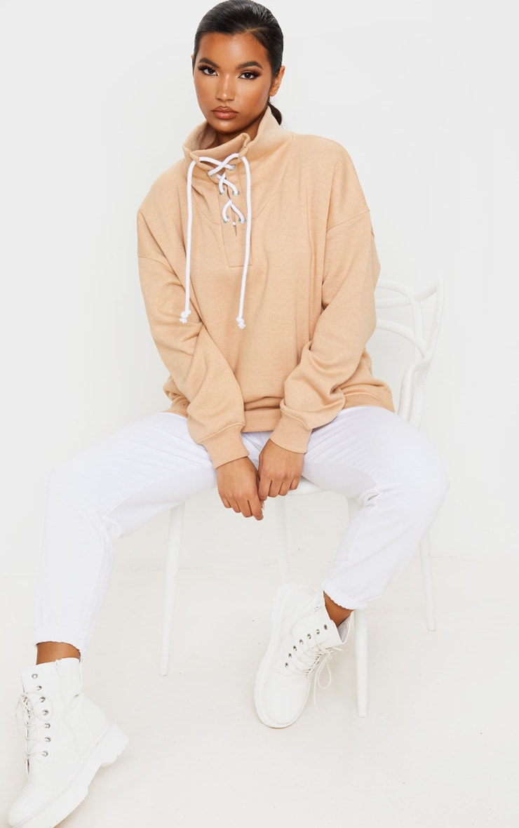 Sand Lace Up High Neck Sweater 4
