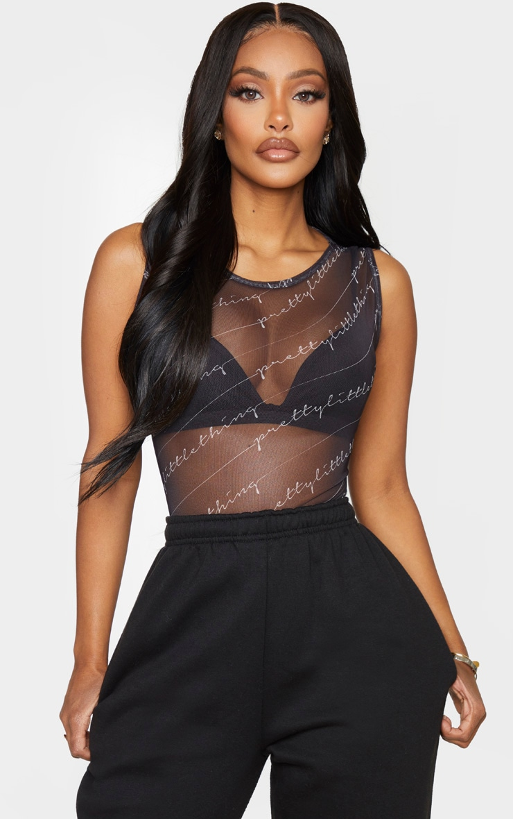 PRETTYLITTLETHING Shape Black Print Sheer Bodysuit 1