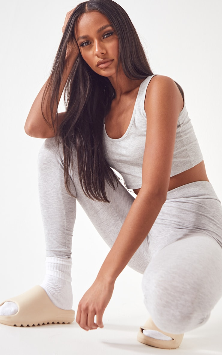 Essential Grey Cotton Blend Jersey High Waisted Leggings 4