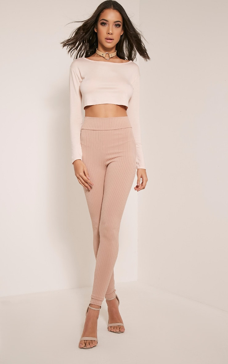 Basic Nude Long Sleeve Crop Top 9