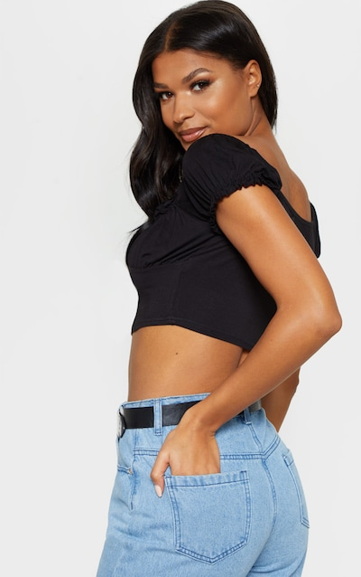 Black Jersey Frill Bardot Cup Detail Crop Top