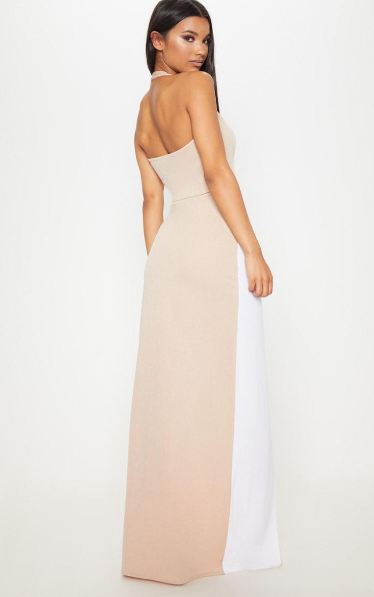 Nude Contrast Panel Extreme Split Maxi Dress 2