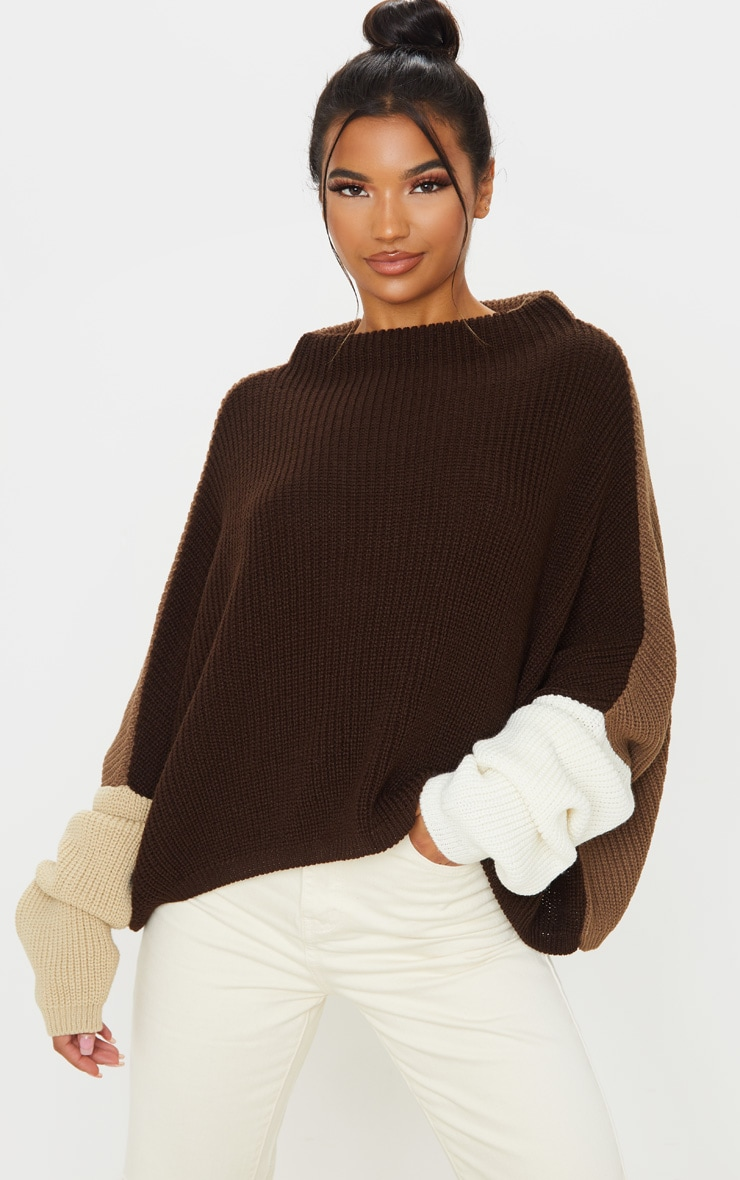 Brown Oversized Colour Block Knitted Jumper  1