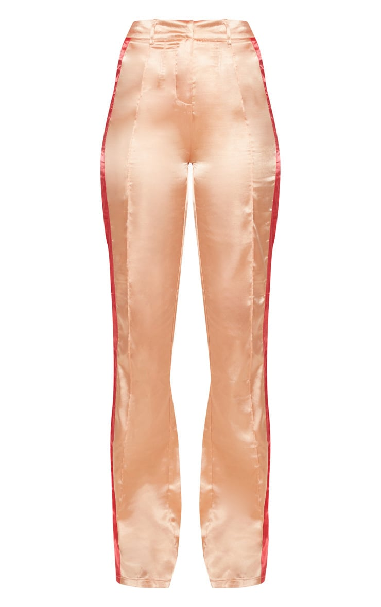 Peach Satin Contrast Stripe Wide Leg Trouser 3
