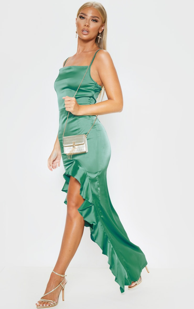 Emerald Green Cowl Neck Frill Hem Maxi Dress 4
