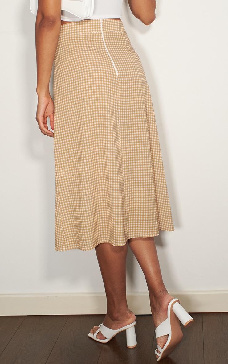 Stone Gingham Floaty Midi Skirt 3