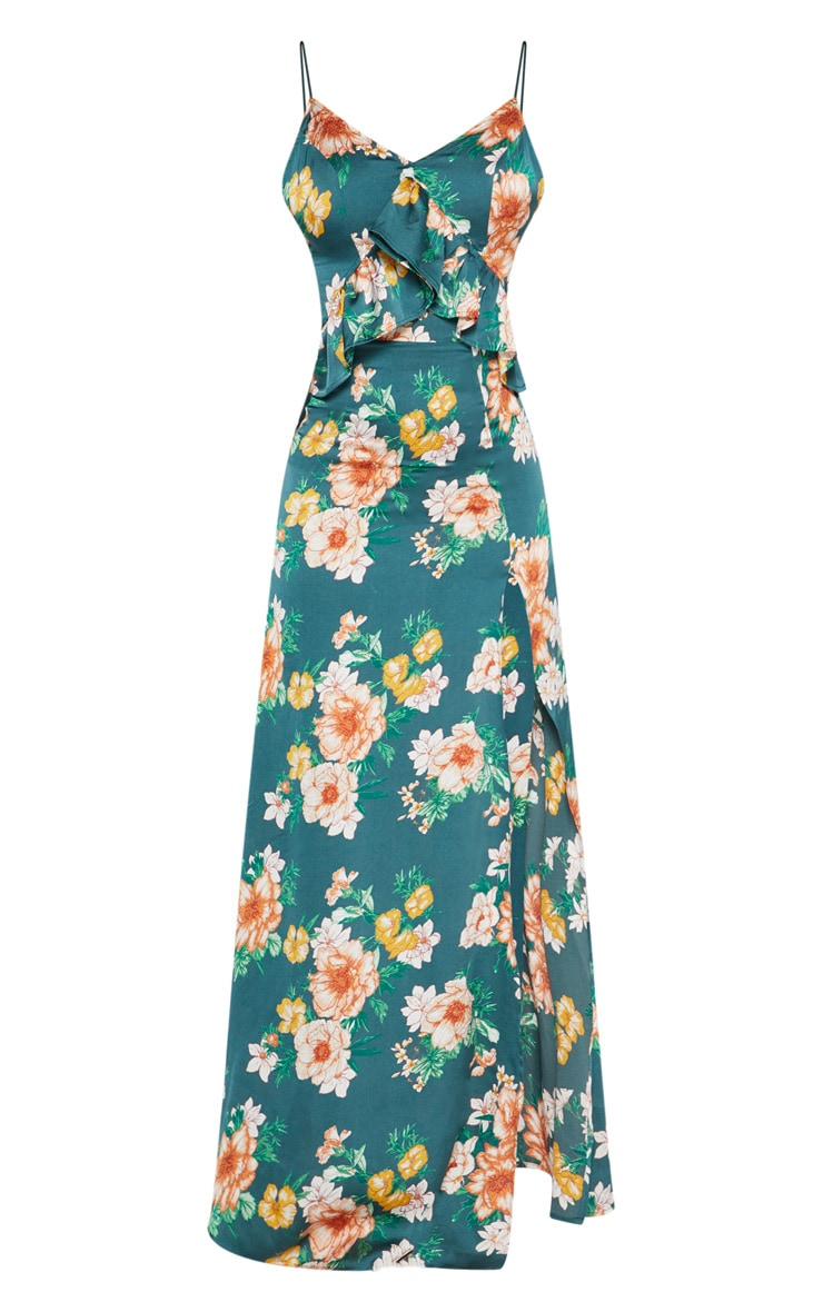 Emerald Green Floral Frill Detail Extreme Split Plunge Maxi Dress 3