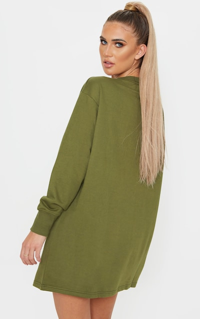 Khaki Oversized Zip Pocket Front Jumper Dress