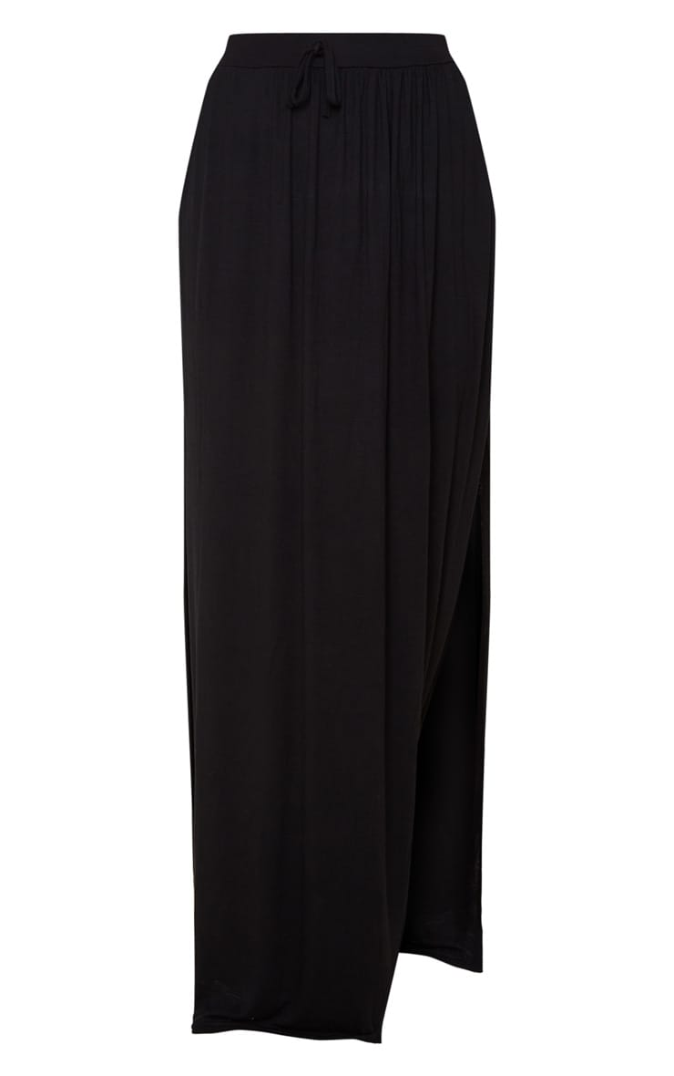 Black Jersey Drawstring Maxi Skirt 3