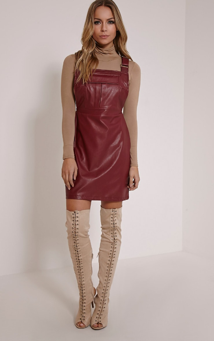 Myra Burgundy Faux Leather Pinafore Dress 4