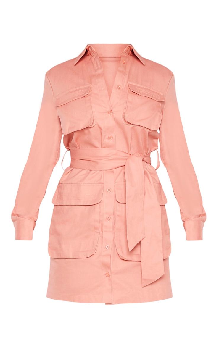 Petite - Robe chemise rose cendré nouée à la taille style utilitaire 3