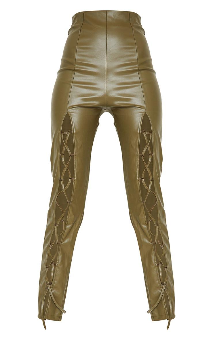 Tall  Olive Lace Up Pu Pants 5