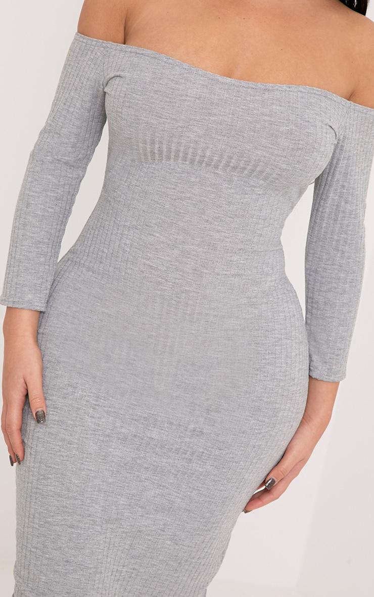 Shape Ailanna Grey Ribbed Midi Bardot Dress 5