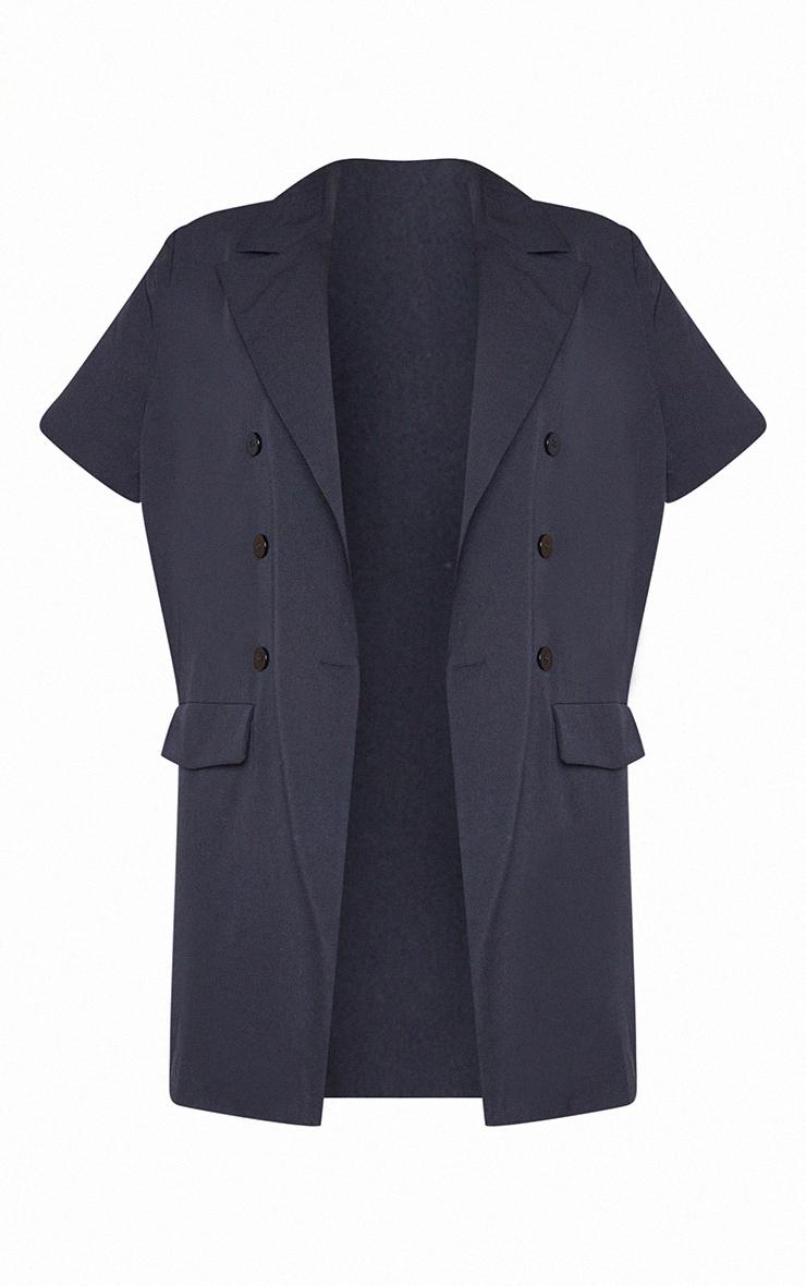 Plus Black Woven Short Sleeve Longline Belted Blazer 5