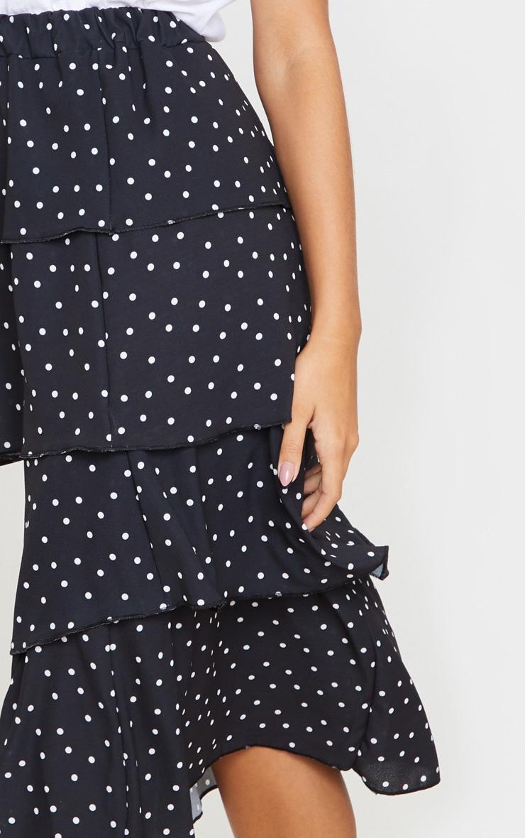 Black Polka Dot Tiered Midi Skirt 4