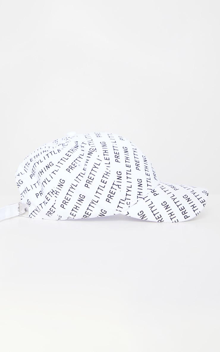 PRETTYLITTLETHING White All Over Print Baseball Cap 2