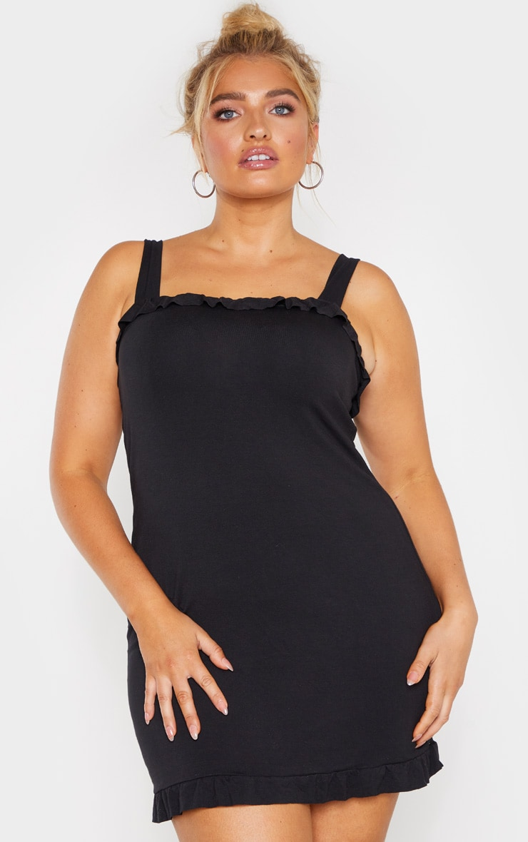 Plus Black Frill Tie Shoulder Bodycon Dress 1