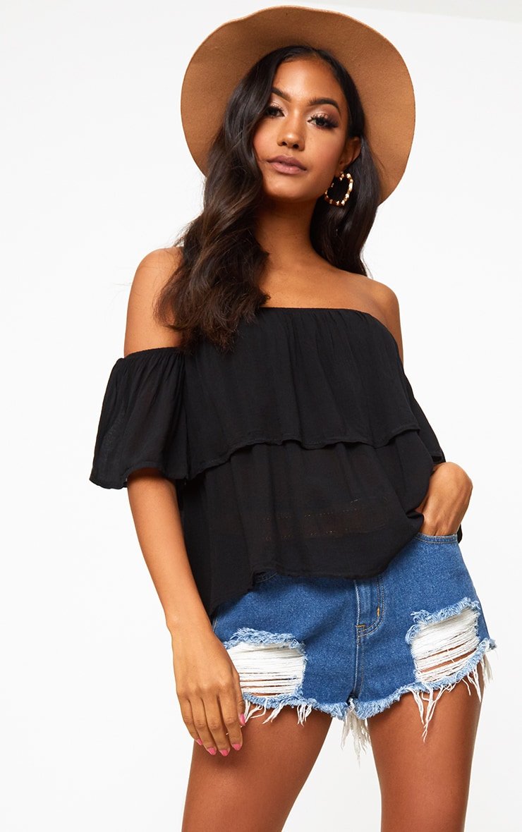 Black Soft Bardot Shortsleeve Frill Top 1