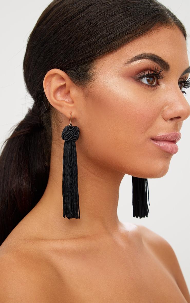 Black Knotted Tassel Earrings 4
