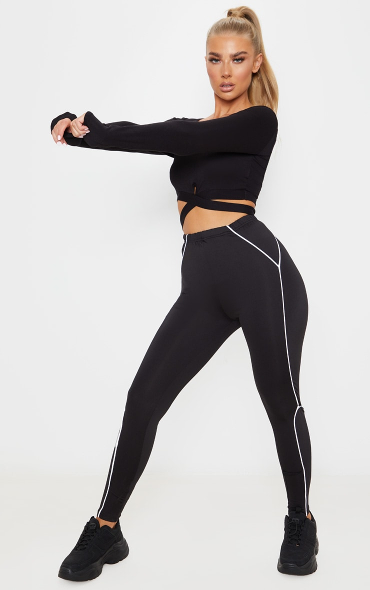 Black Reflective Piping High Waist Gym Legging 1
