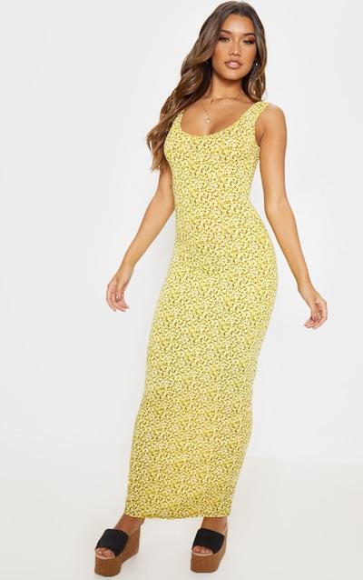 c70853638 Yellow Ditsy Floral Basic Maxi Dress